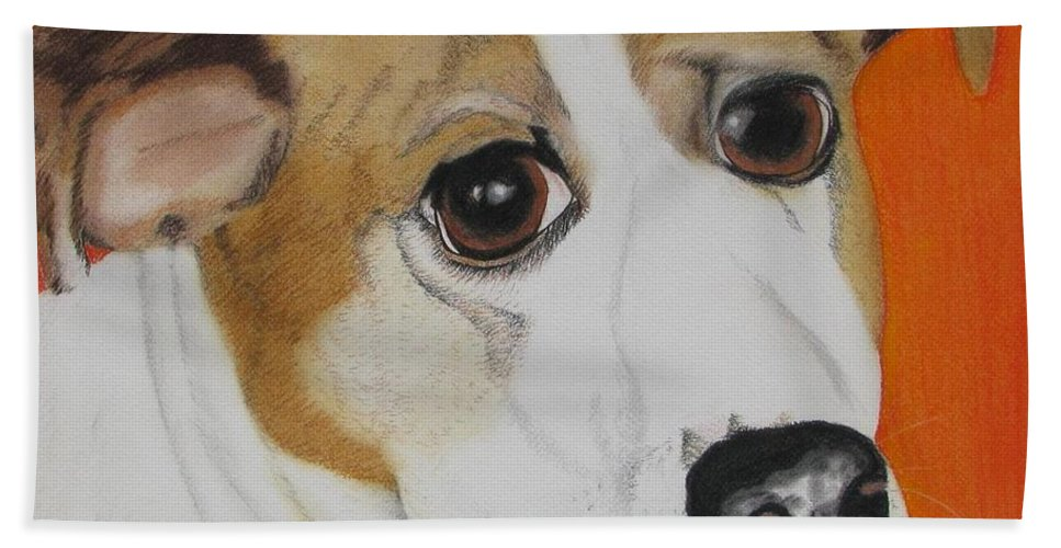 Dog Portrait Beach Towel featuring the painting Abner by Michelle Hayden-Marsan