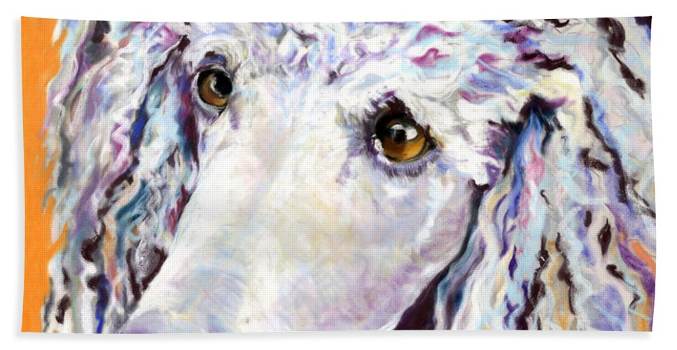Standard Poodle Beach Towel featuring the pastel Above The Standard  by Pat Saunders-White
