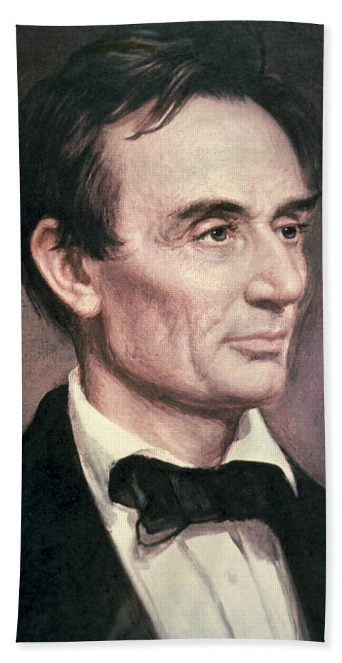 Male; Portrait; American; Statesman; Politician; Politics; Political Figure ;orator; Anti-slavery; Abolitionist; Us; Usa Beach Towel featuring the painting Abraham Lincoln by George Peter Alexander Healy