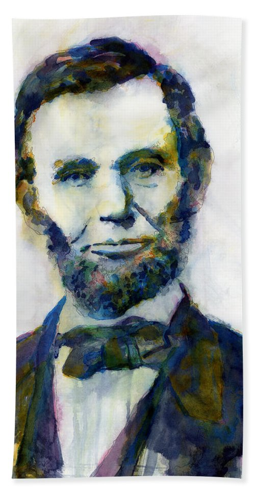 Abraham Beach Towel featuring the painting Abraham Lincoln Portrait Study 2 by Hailey E Herrera
