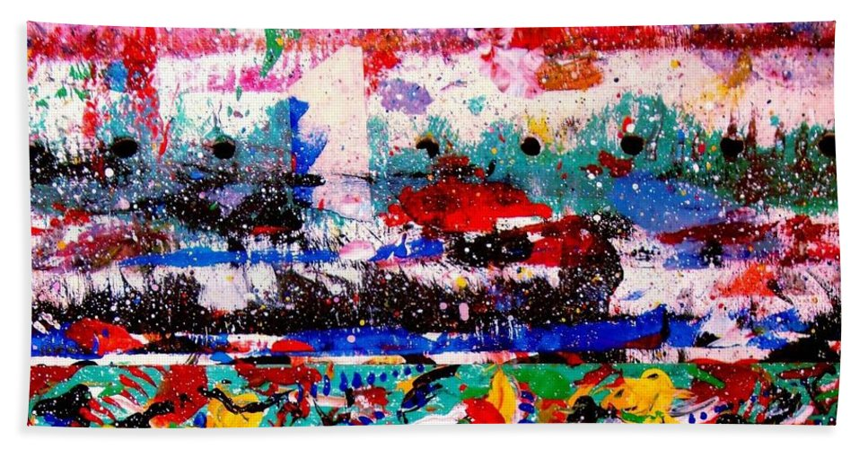 Abstract Beach Towel featuring the painting Abstract 3 by Natalie Holland