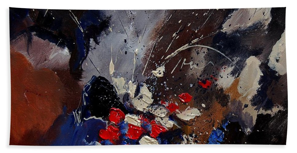 Abstract Beach Towel featuring the painting Abstract 55900122 by Pol Ledent