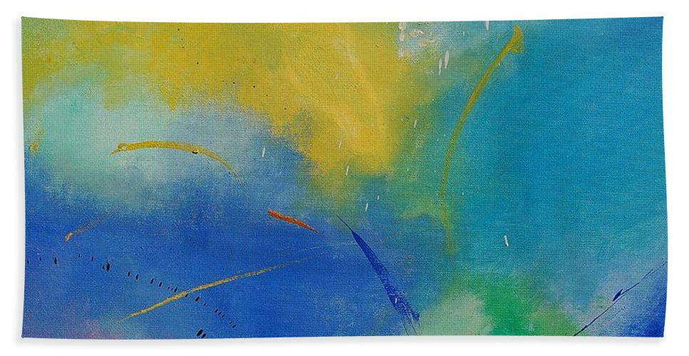 Abstract Beach Towel featuring the painting Abstract 564897 by Pol Ledent