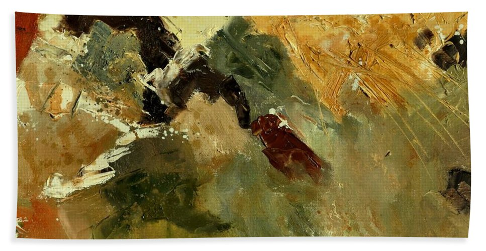 Abstract Beach Towel featuring the painting Abstract 6601901 by Pol Ledent