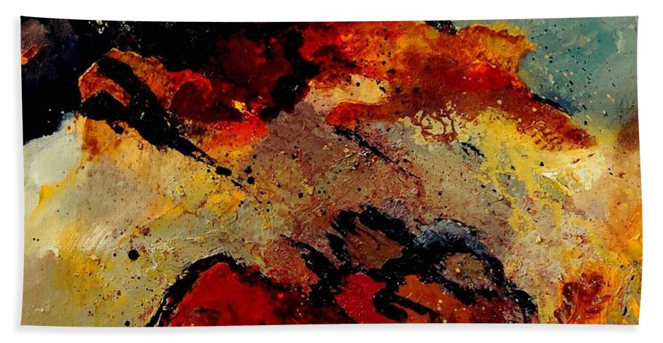 Abstract Beach Sheet featuring the painting Abstract 780707 by Pol Ledent