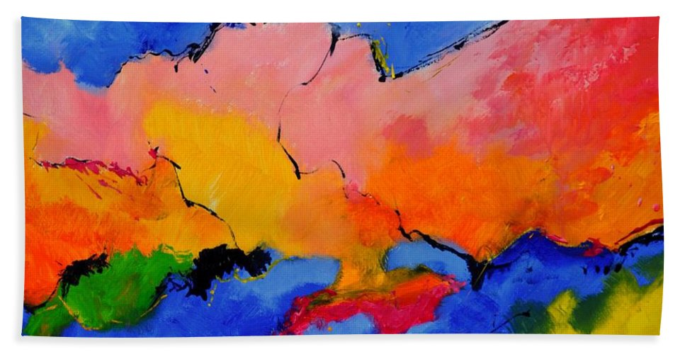 Abstract Beach Towel featuring the painting Abstract 88112060 by Pol Ledent
