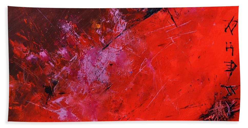 Abstract Beach Towel featuring the painting Abstract 88113013 by Pol Ledent