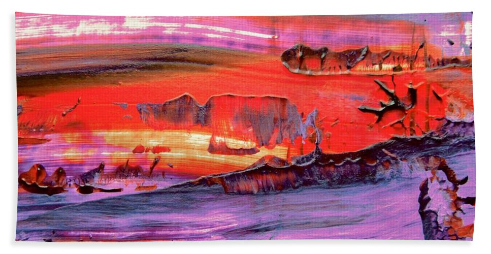 Red Beach Towel featuring the painting Abstract 9032 by Stephanie Moore