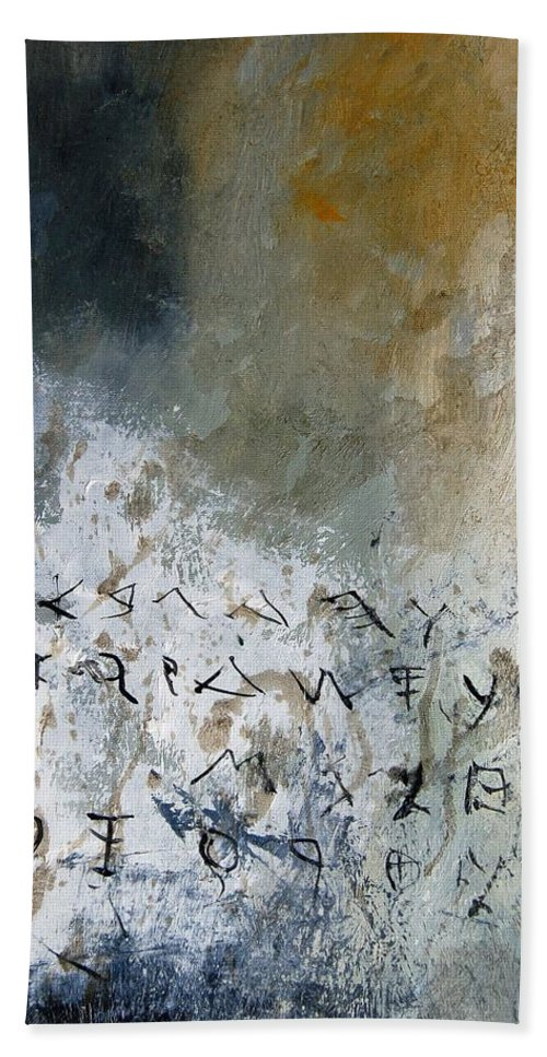 Abstract Beach Sheet featuring the painting Abstract 904023 by Pol Ledent