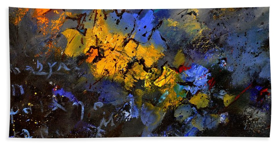 Abstract Beach Towel featuring the painting Abstract 972 by Pol Ledent