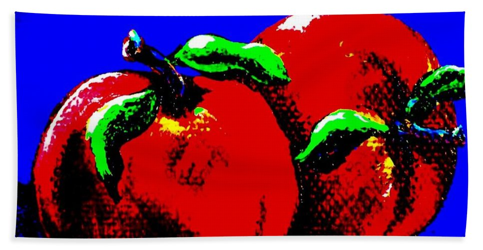 Apples Beach Towel featuring the painting Abstract Apples by Jennifer Lake