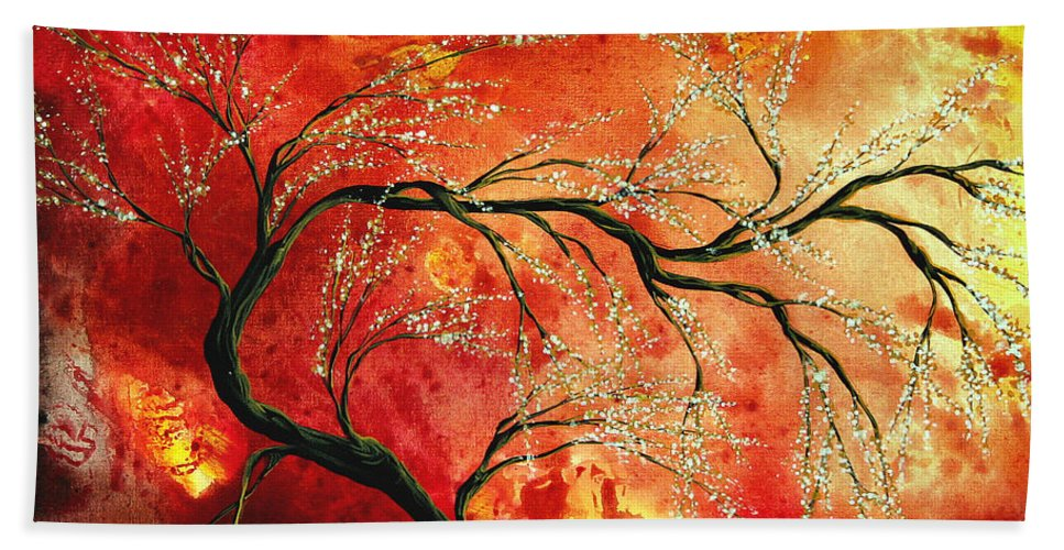 Abstract Beach Towel featuring the painting Abstract Art Floral Tree Landscape Painting Fresh Blossoms By Madart by Megan Duncanson