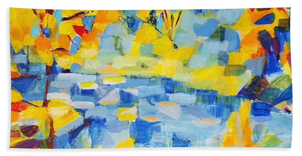Abstract Landscape Beach Towel featuring the painting Abstract Autumn Landscape by Olga Malamud-Pavlovich
