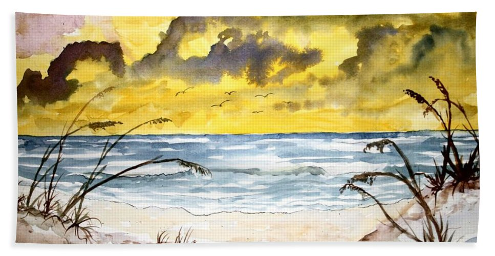 Beach Beach Towel featuring the painting Abstract beach sand dunes by Derek Mccrea