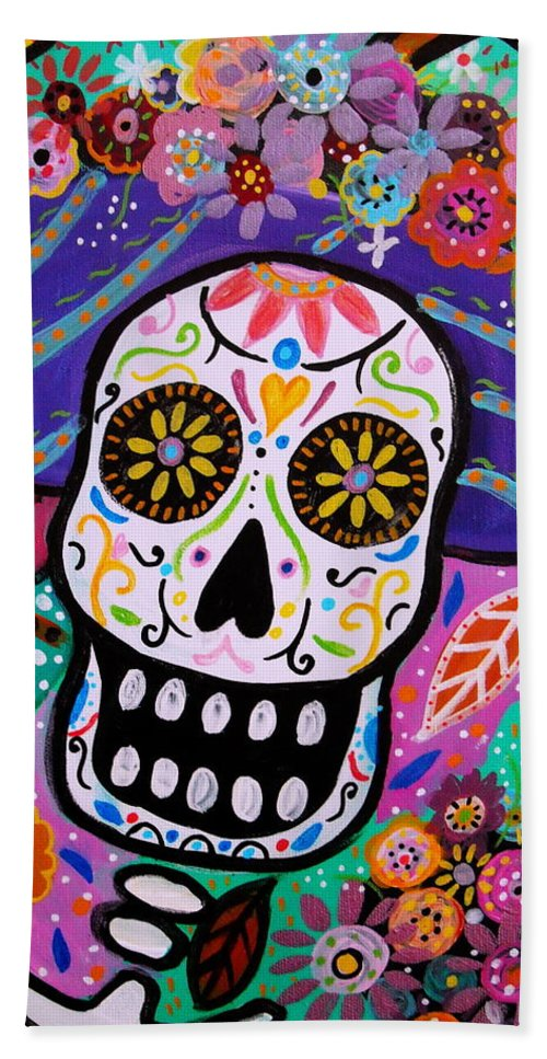 Catrina Beach Towel featuring the painting Abstract Catrina by Pristine Cartera Turkus