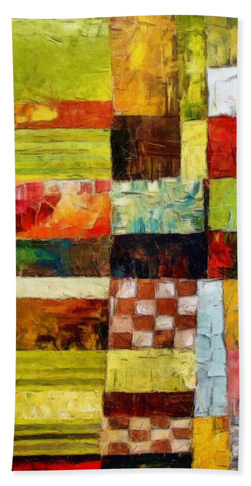 Patchwork Beach Towel featuring the painting Abstract Color Study with Checkerboard and Stripes by Michelle Calkins