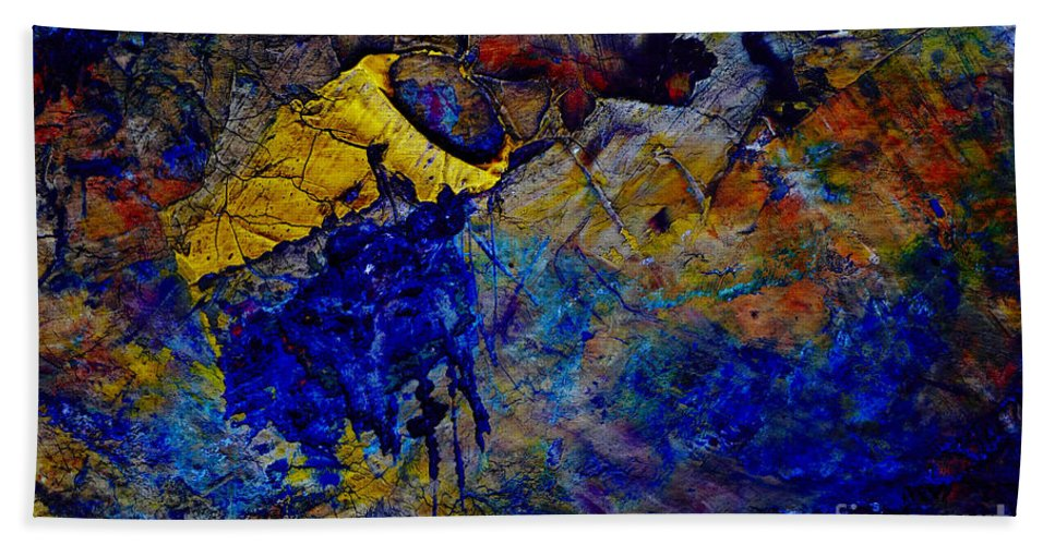 Abstract Beach Towel featuring the painting Abstract Composition by Michal Boubin