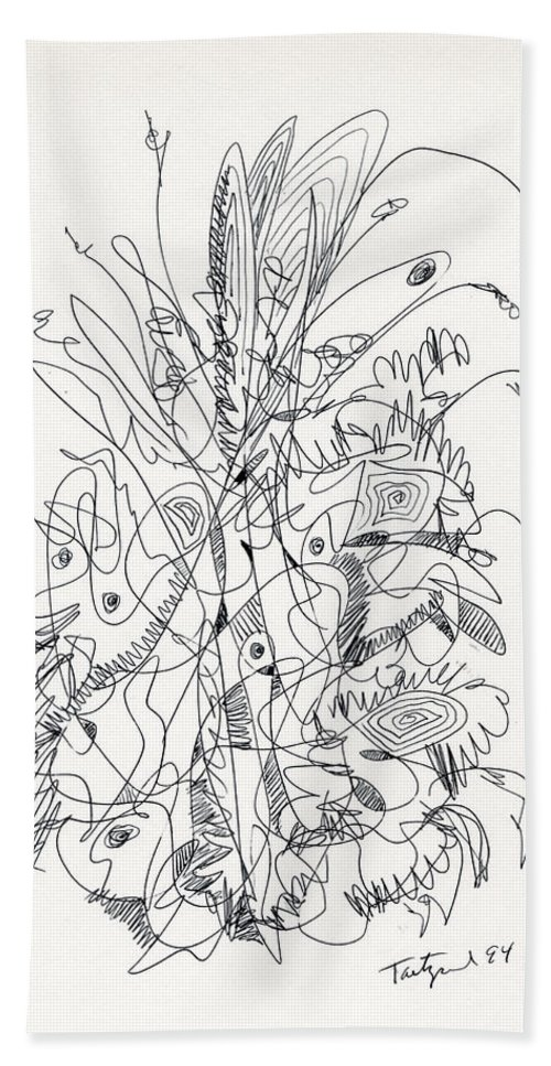 Abstract Beach Towel featuring the drawing Abstract Drawing Fifty-nine by Lynne Taetzsch