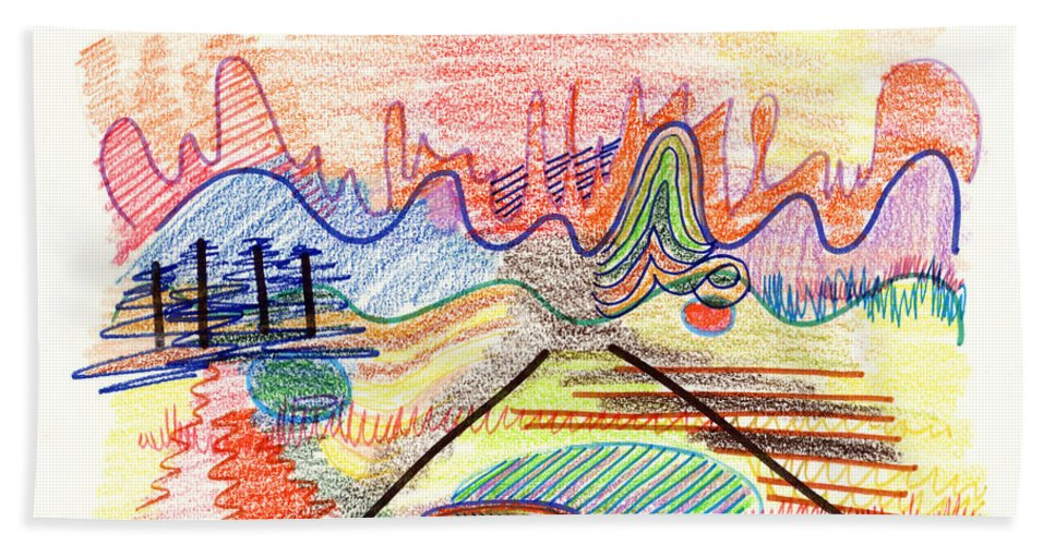 Abstract Beach Towel featuring the drawing Abstract Drawing Five by Lynne Taetzsch