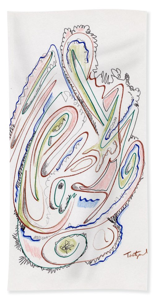 Abstract Beach Towel featuring the drawing Abstract Drawing Sixty by Lynne Taetzsch