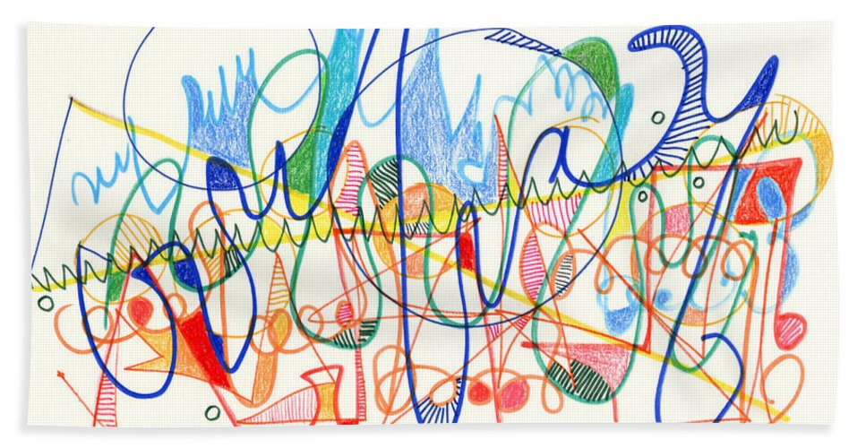 Abstract Beach Towel featuring the drawing Abstract Drawing Two by Lynne Taetzsch
