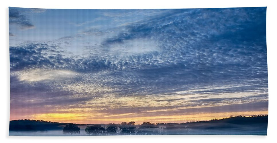 Abstract Beach Towel featuring the photograph Abstract Early Morning Sunrise Over Farm Land by Alex Grichenko