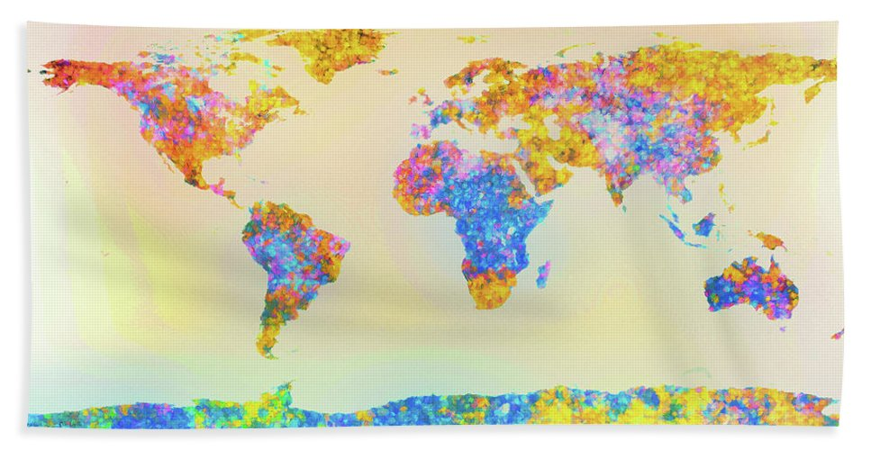 Earth Beach Towel featuring the painting Abstract Earth Map 2 by Bob Orsillo