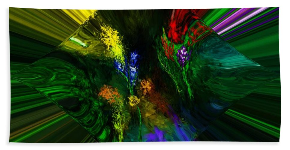 Digital Painting Beach Towel featuring the digital art Abstract Garden by David Lane