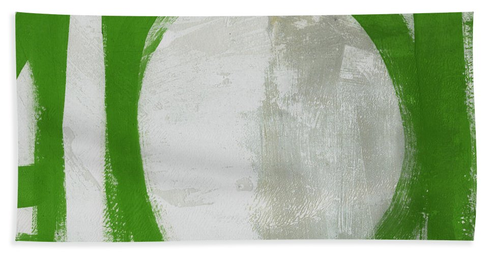 Abstract Beach Towel featuring the painting Abstract Green Circle 2- Art By Linda Woods by Linda Woods