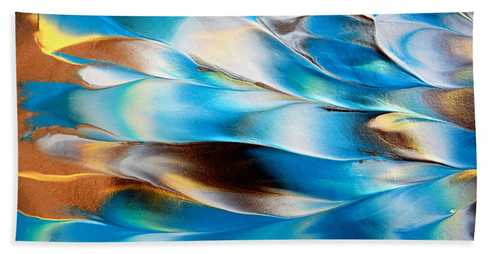 Martha Beach Towel featuring the painting Abstract L1015al by Mas Art Studio