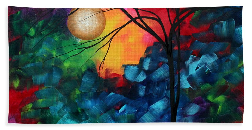 Abstract Beach Towel featuring the painting Abstract Landscape Bold Colorful Painting by Megan Duncanson