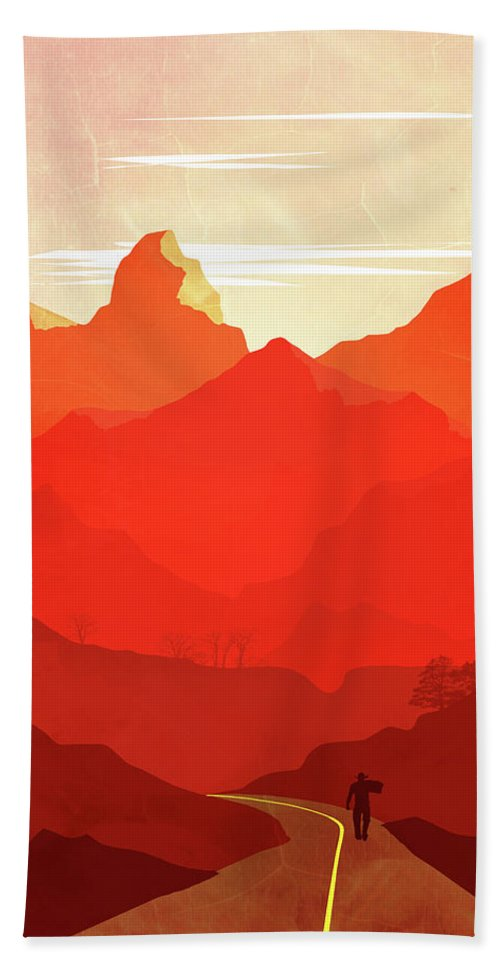 Abstract Beach Towel featuring the painting Abstract Landscape Mountain Road Art 5 - By Diana Van by Diana Van
