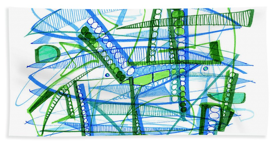 Abstract Beach Towel featuring the drawing Abstract Pen Drawing Twenty-eight by Lynne Taetzsch