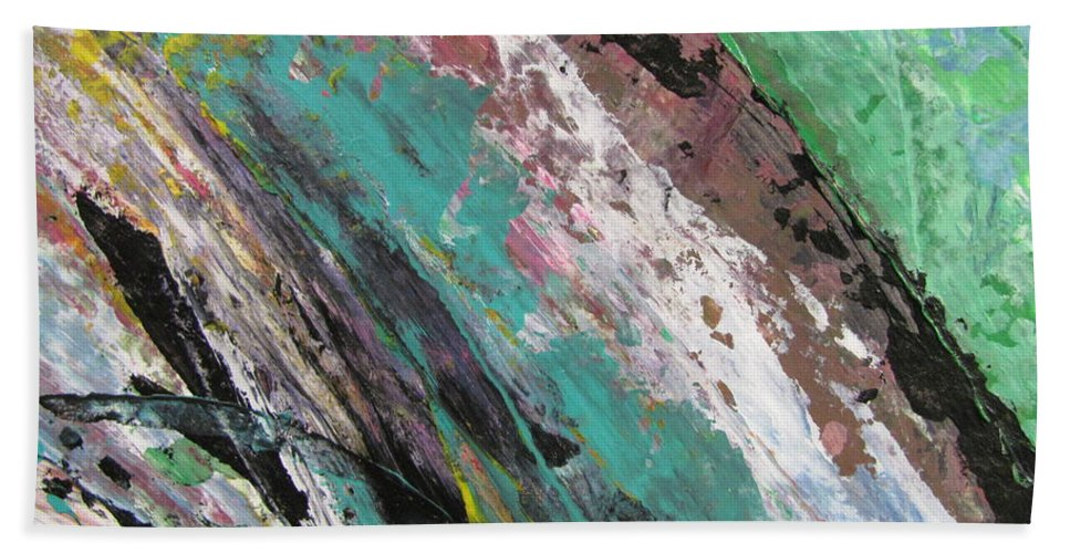 Abstract Beach Towel featuring the painting Abstract Piano 2 by Anita Burgermeister
