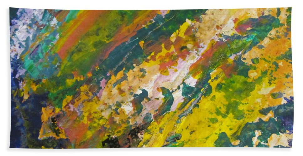 Abstract Beach Towel featuring the painting Abstract Piano 3 by Anita Burgermeister