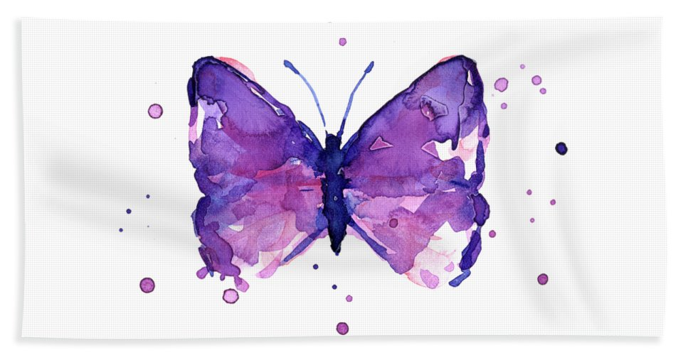 Abstract Beach Towel featuring the painting Abstract Purple Butterfly Watercolor by Olga Shvartsur