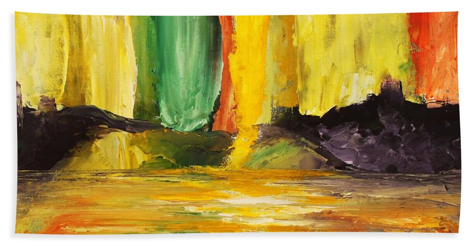 Abstract Beach Towel featuring the painting Abundance by Angel Reyes