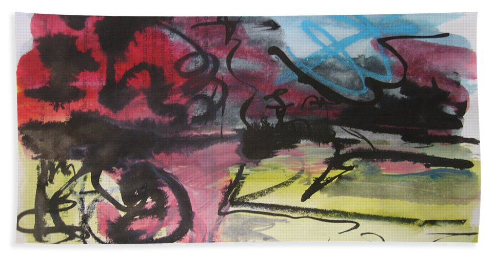 Landscape Painting Beach Towel featuring the painting Abstract Sketch18 by Seon-Jeong Kim