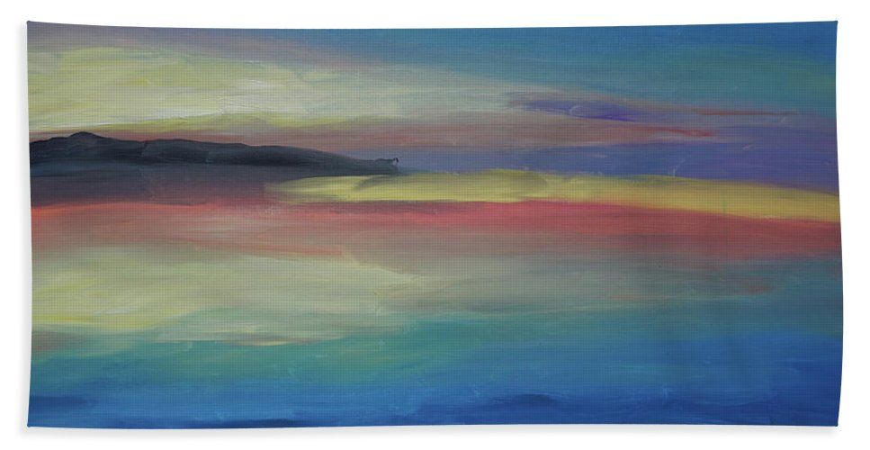Abstract Beach Towel featuring the painting Abstract Sunset by Katherine Klauber