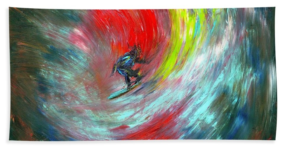 Surfer Beach Towel featuring the painting Abstract Surfer by Paul Emig