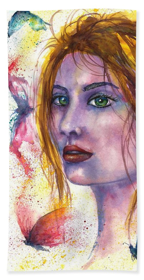 Women Face Beach Towel featuring the painting Abstract women face by Natalja Picugina