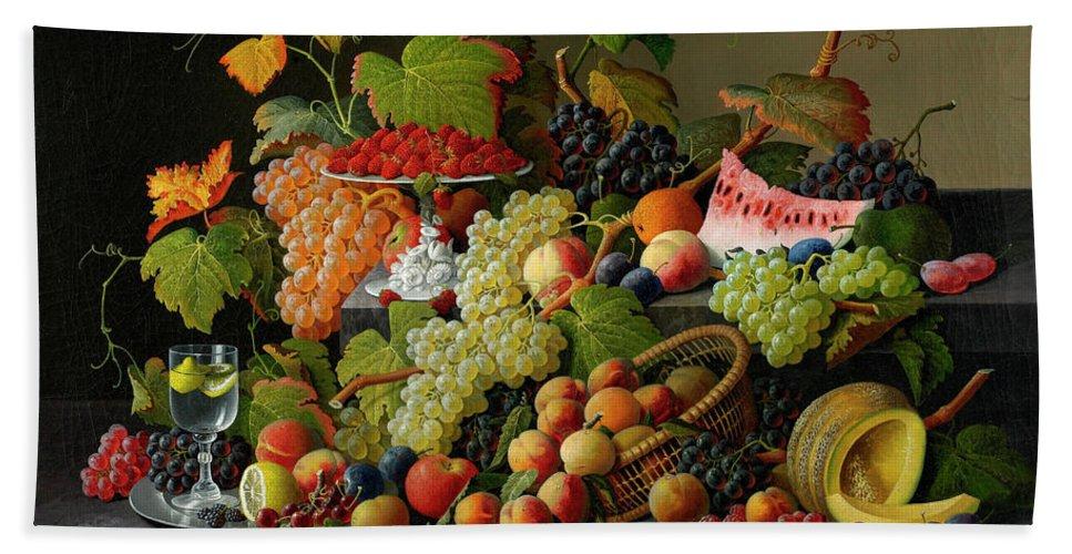 Abundant Fruit Beach Towel featuring the painting Abundant Fruit, 1858 by Severin Roesen