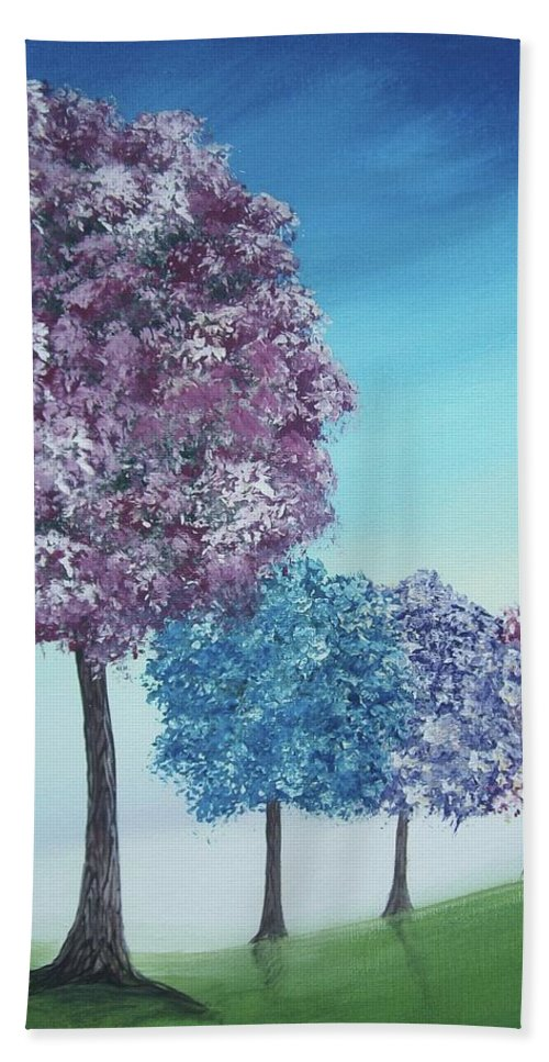 Trees Beach Towel featuring the painting Abundant Summer by Katie Slaby
