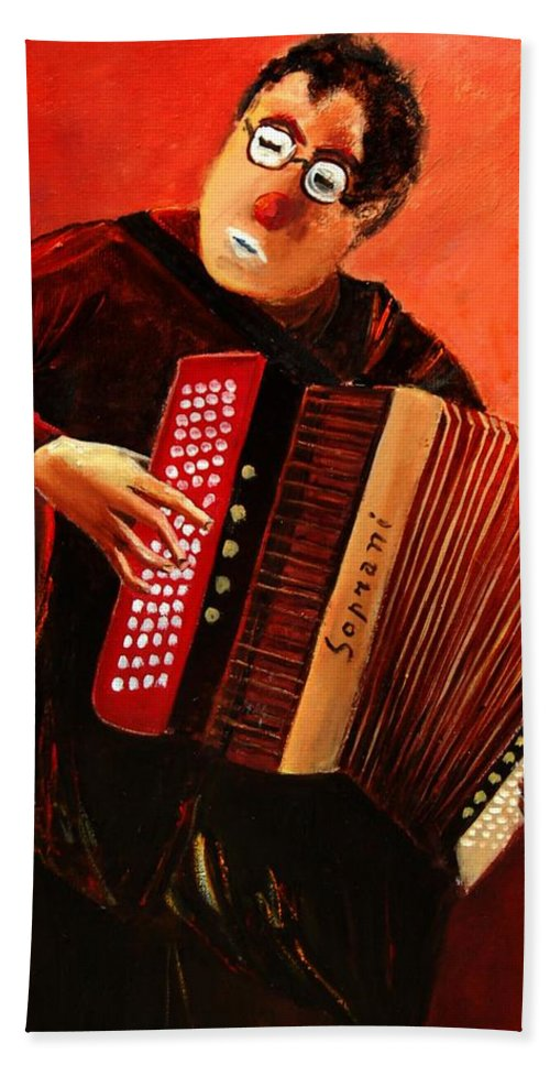 Music Beach Sheet featuring the print Accordeon by Pol Ledent