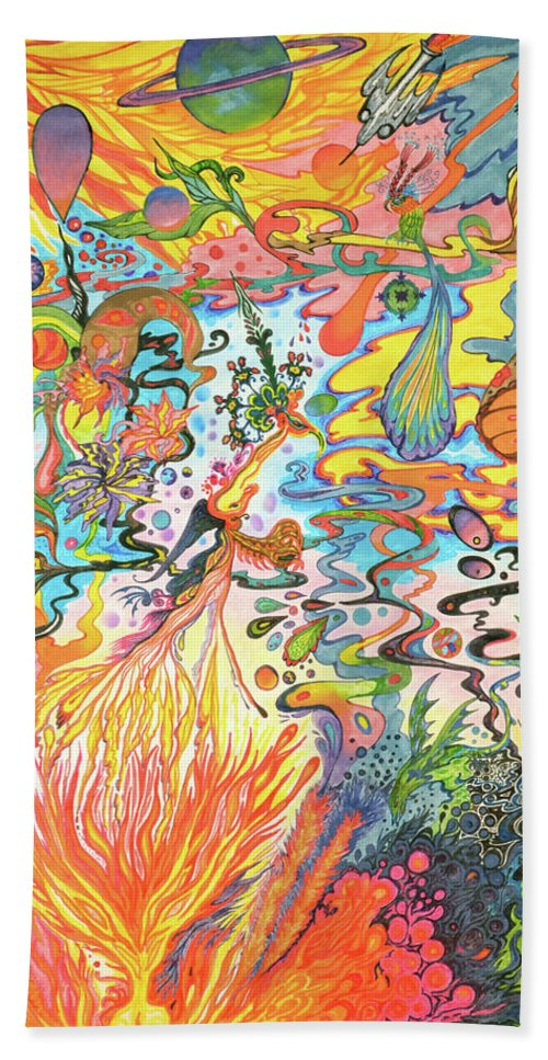 Psychedelic Landscape Beach Towel featuring the painting Acid Dreams by Liz Baker