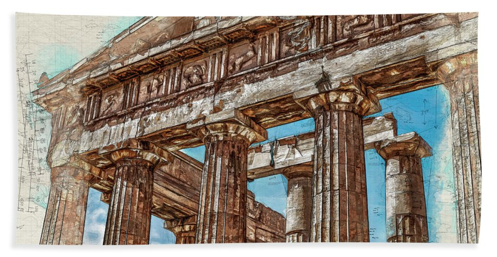 Acropolis Beach Towel featuring the digital art Acropolis I by Ronald Bolokofsky