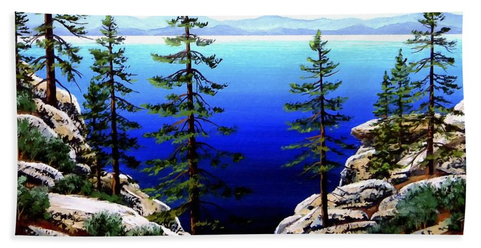 Lake Tahoe Beach Towel featuring the painting Across Lake Tahoe by Frank Wilson