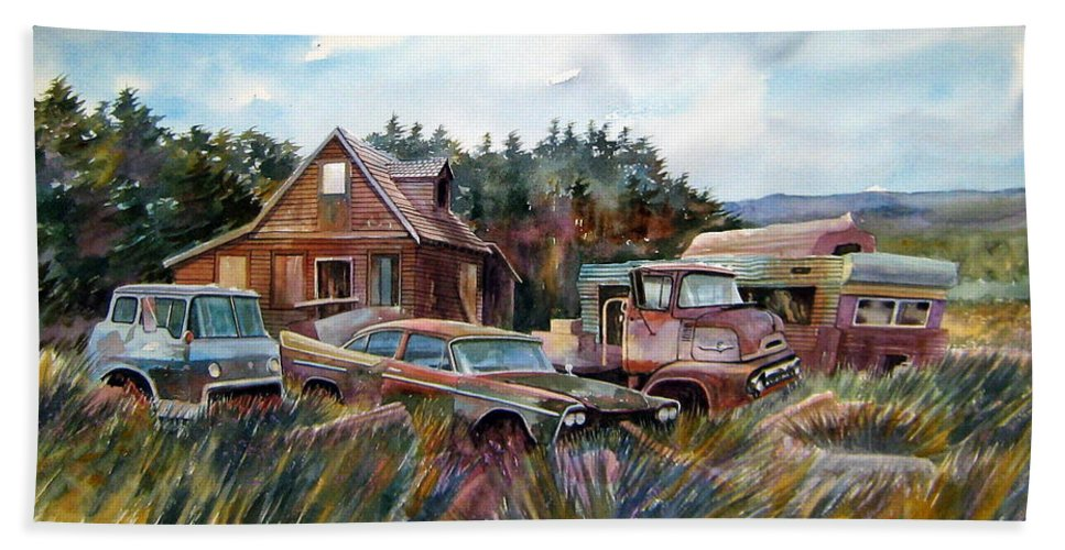 Cars Beach Towel featuring the painting Across The Road And Gone by Ron Morrison