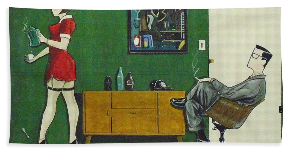 John Lyes Beach Towel featuring the painting Ad Man Sitting In Chair Steadily Watching Coffee Girl by John Lyes