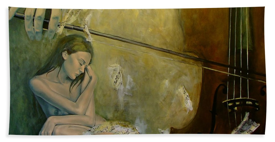 Nude Beach Towel featuring the painting Adagio Sentimental Confusion by Dorina Costras